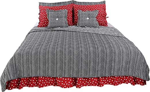 Amazon Com Pirates Cove Red White Black Bold Stripe Fun Polka Dots Cotton 10 Piece Queen Reversable Quilt Bedding Set By Cotton Tale Designs Kitchen Dining