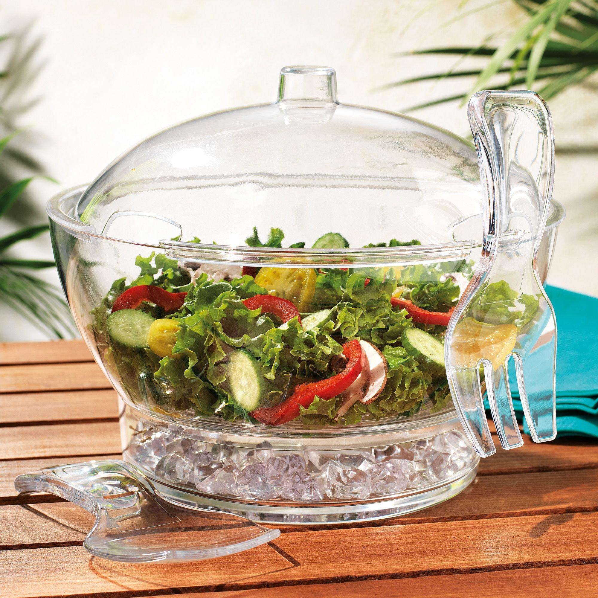 Elegant Home l Salad Bowl Chilled-Serve 6 piece Serve Set With Ice tray| Dome Lid & Serving Utensils