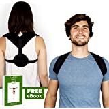 ZŌREM Posture Corrector - Adjustable Clavicle Brace Providing Back Pain Relief and Support for Men, Women and Teens. Helps Improve Posture and Alleviates Slumping and Slouching. Includes FREE E-Book!