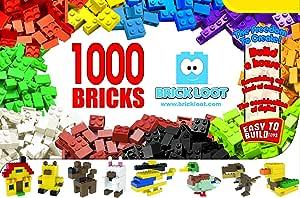 1,000 Bricks - 1000 Toy Building Blocks - Mixed Colors - Compatible - Great Creative Box
