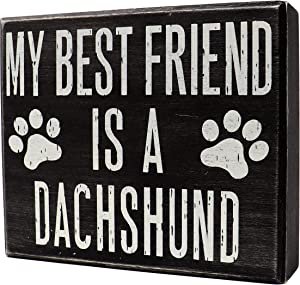 JennyGems - My Best Friend is a Dachshund - Wooden Stand Up Box Sign - Dachshund Moms Gift Series - Doxie Decor Signs - Rustic Farmhouse Box Sign - Weenie Dog, Hot Dog, Wiener Dog, Badger Dog Sign