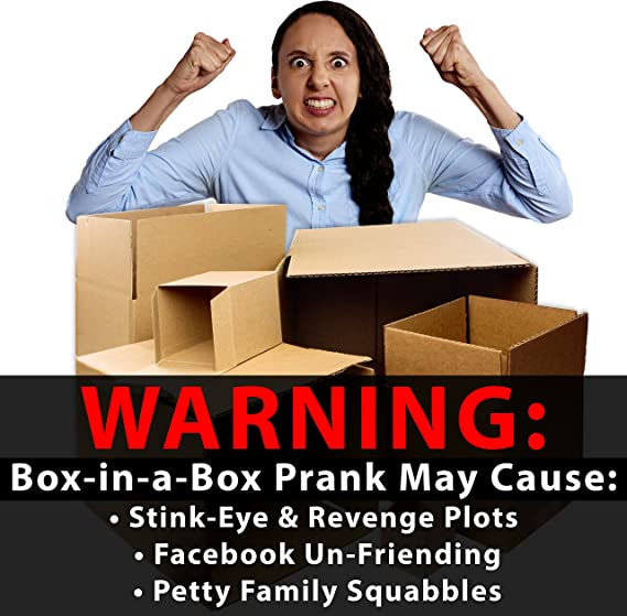 Funny Practical or Novelty Joke Give the Gift of Frustration: Boxes in a Box Prank 2-12 Inch Great Christmas Gag Birthday Present or Stocking Stuffer for Him Includes 3 Sets of 6 Nesting Cartons