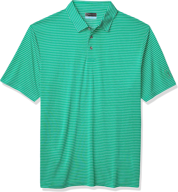 PGA TOUR Men's Short Sleeve Feeder Stripe Polo Shirt