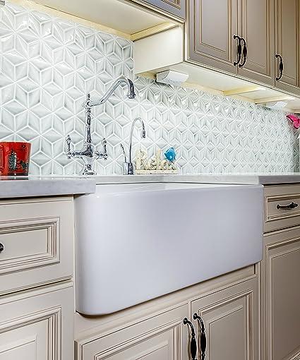 33 fireclay sink single bowl farmhouse apron kitchen sink white rh amazon com  white farmhouse apron kitchen sink