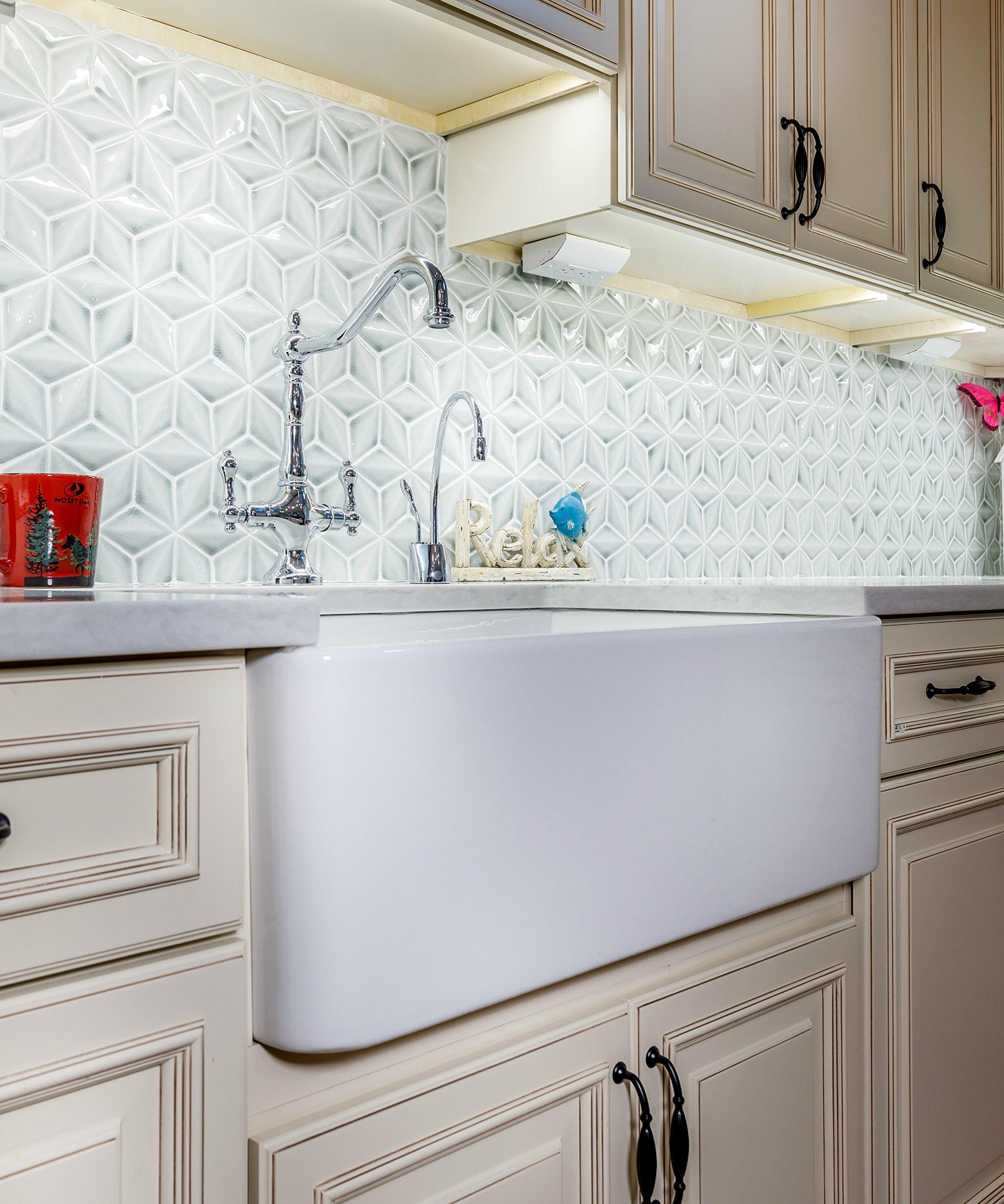 33'' Fireclay sink, Single Bowl Farmhouse, Apron Kitchen Sink, White.