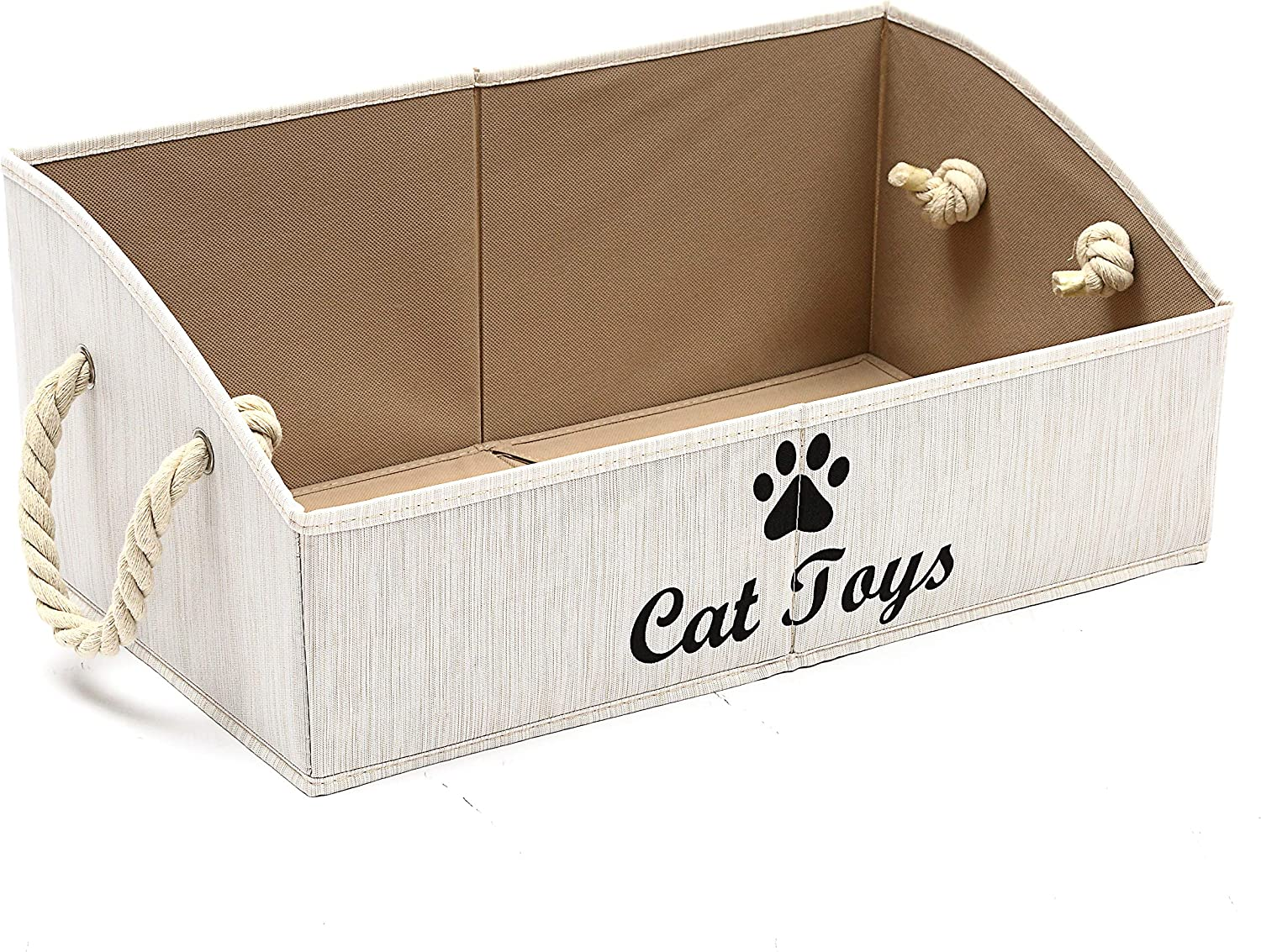 Geyecete Large cat Toys Storage Bins - Foldable Fabric Trapezoid Organizer Boxes with Cotton Rope Handle, Collapsible Basket for Shelves,cat Toys,cat Apparel & Accessories (Beige-CAT)