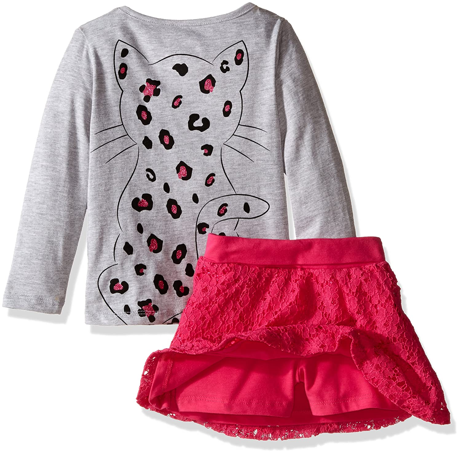 Kidtopia Girls 2pc Set-Long Sleeve Cat 3D Top with Lace Skirt