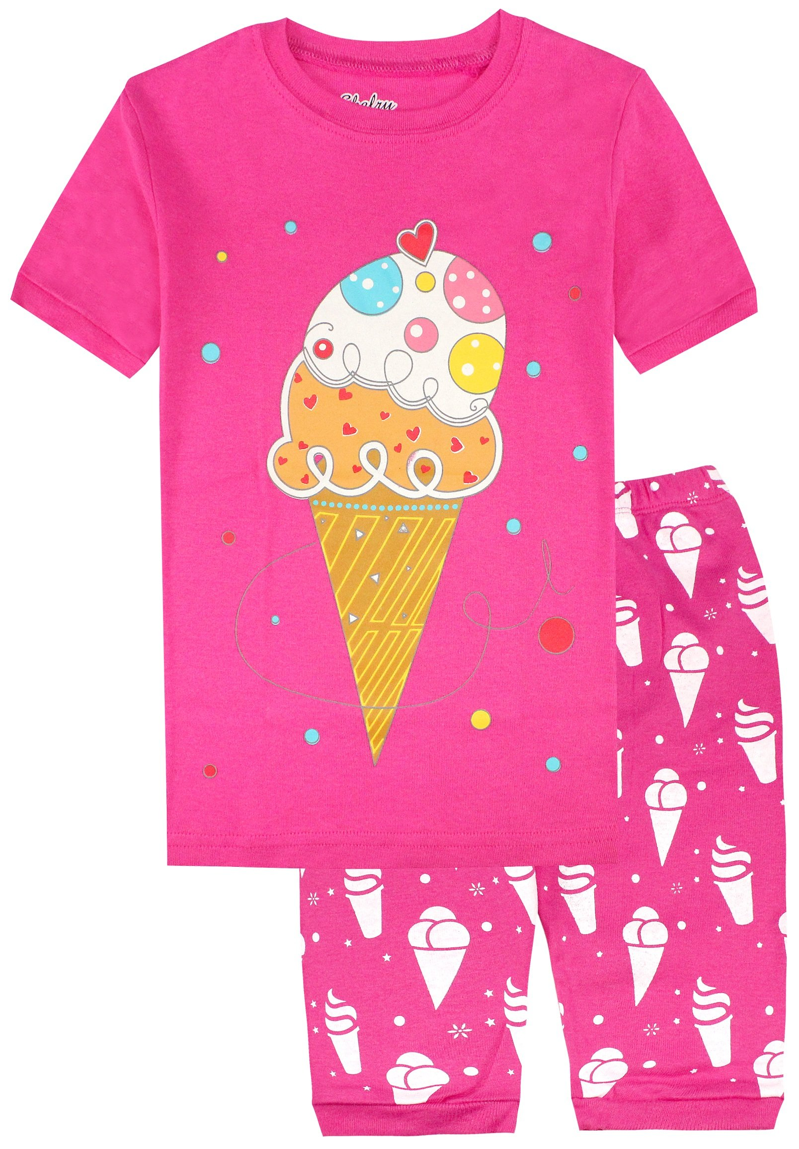 Pajamas for Girls Ice Cream Cotton Short Toddler Pants Summer Clothes 2 Piece 5Y