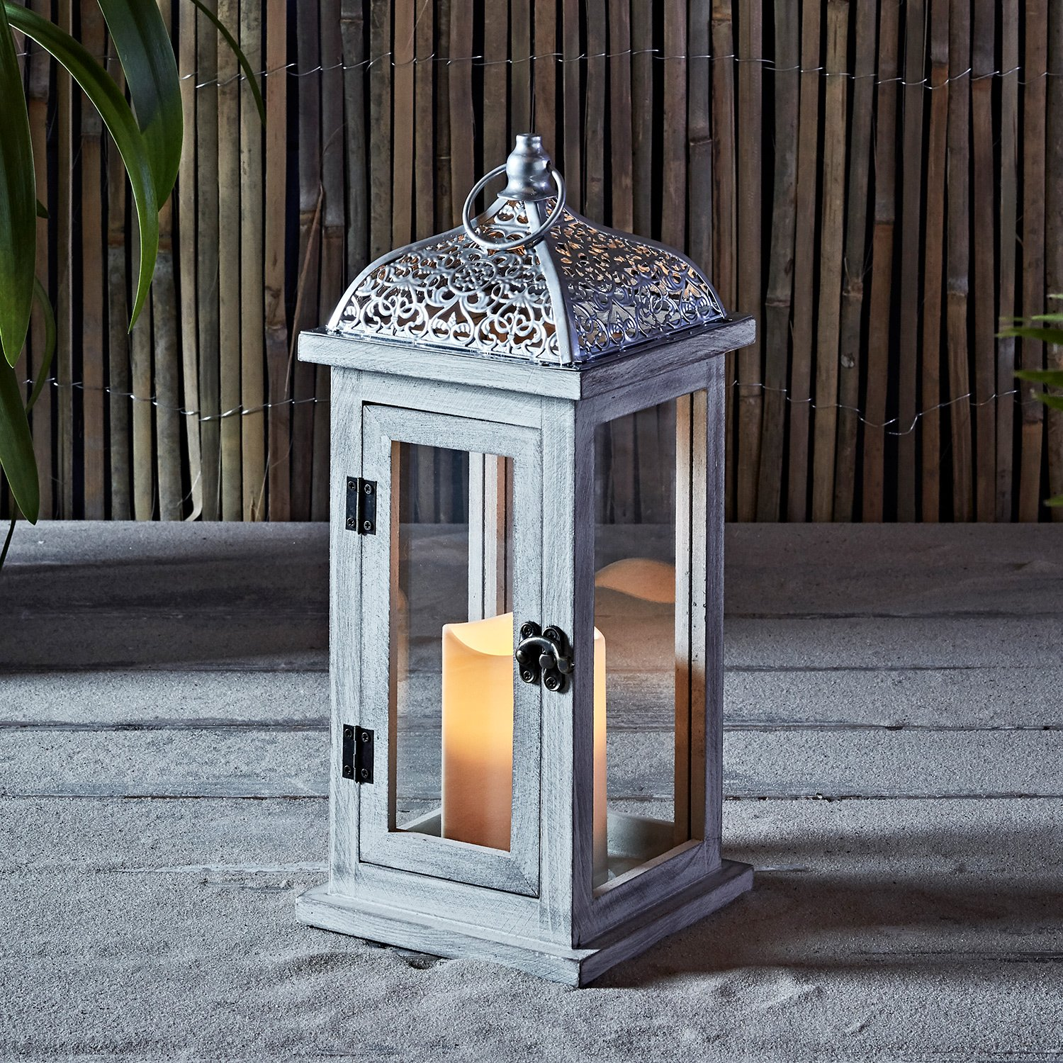 Inc Lights4fun Rustic White Wooden Battery Operated Outdoor LED Flameless Candle Lantern