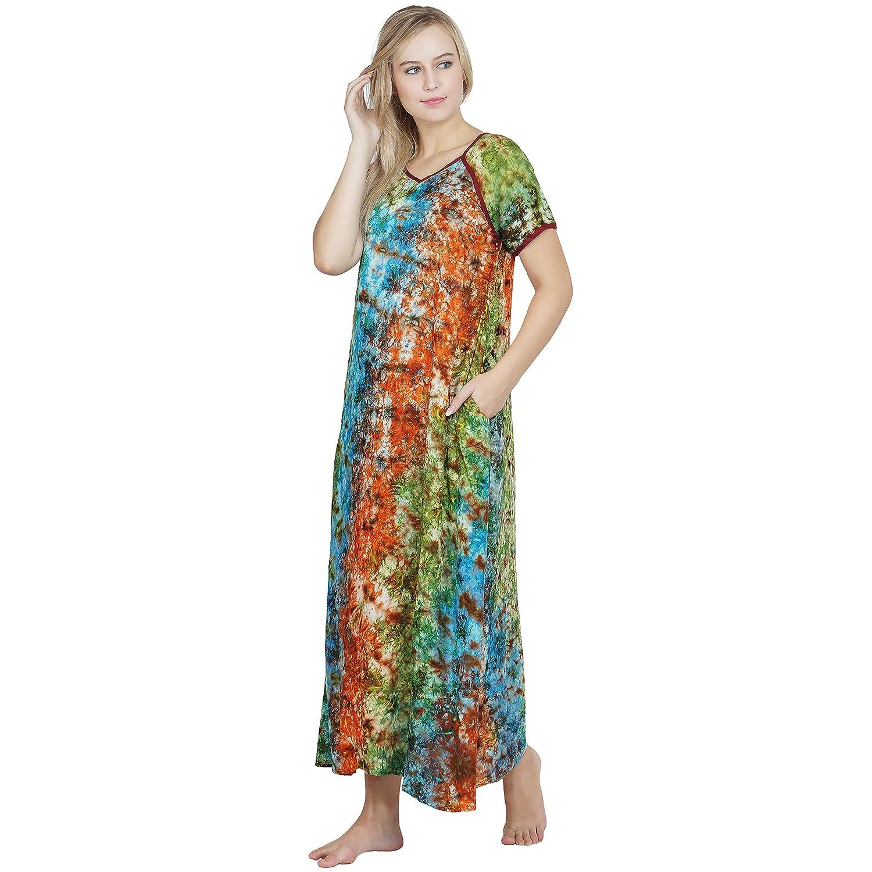 Patrorna Cotton Silk Blend Women s A Line Nighty in Navy Green Print (Size  XL 5230cf6ed