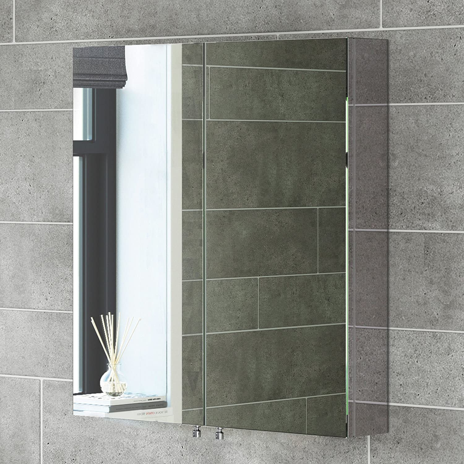 670 X 600 Stainless Steel Bathroom Mirror Cabinet Modern Double Door Storage  Unit