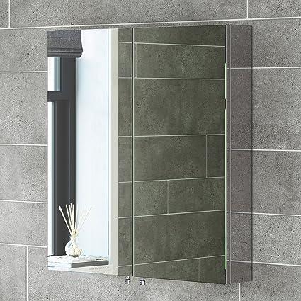 Moderno armario de baño con espejo de acero inoxidable y ...