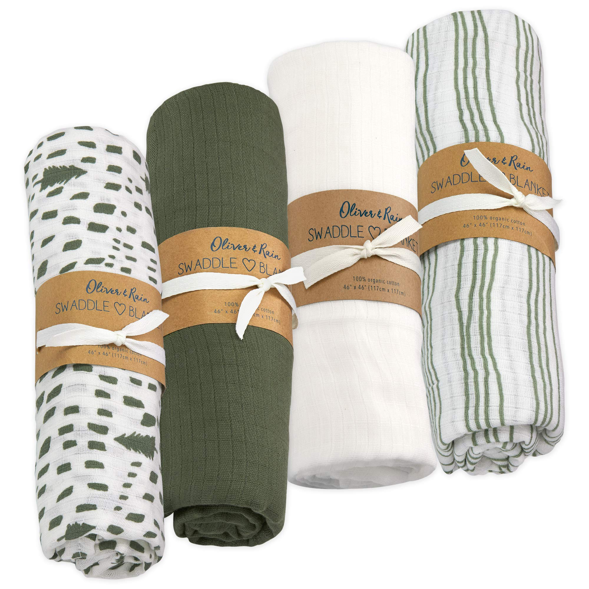 Oliver & Rain Baby Swaddle Sampler - 4-Pack Newborn 100% Organic Cotton Muslin Swaddle Blankets (Green Tree & Stripe)