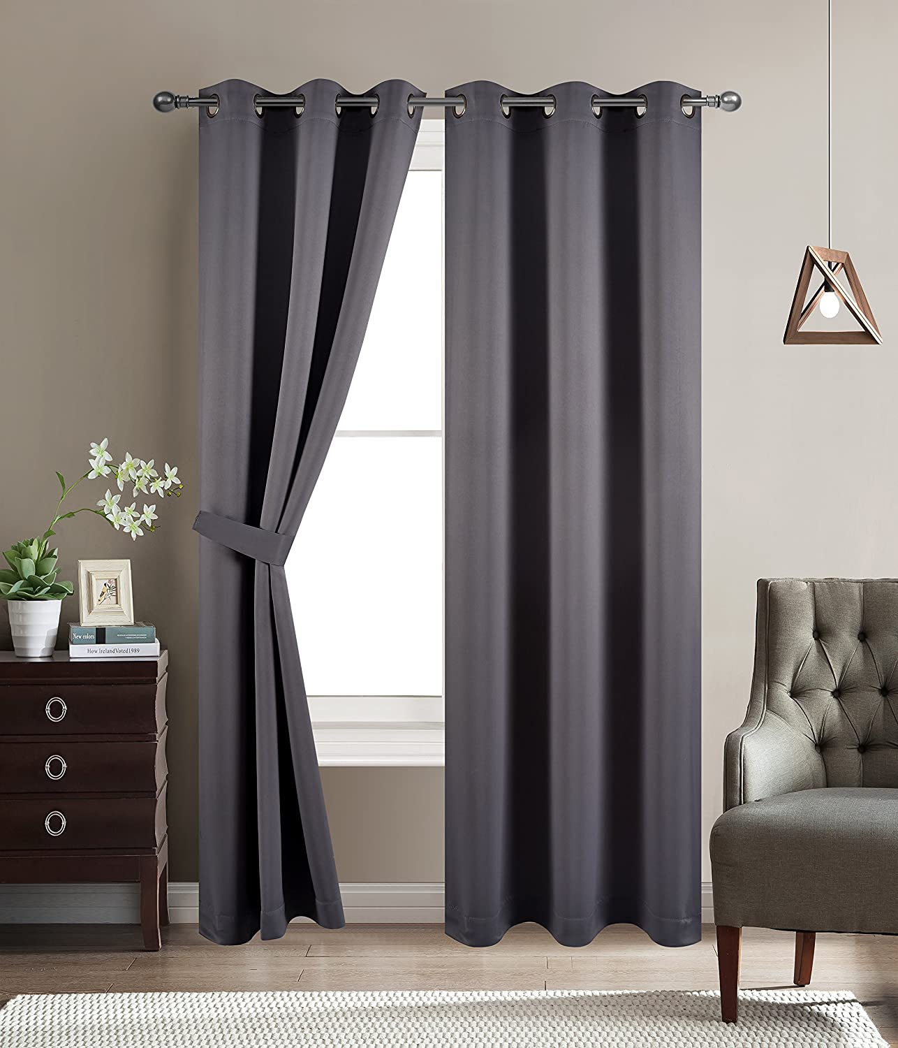 BETTER HOME USA Blackout Room Darkening Curtains Grommet Window Panel Drapes Dark Grey - 2 Panel Set 38x96 Inch