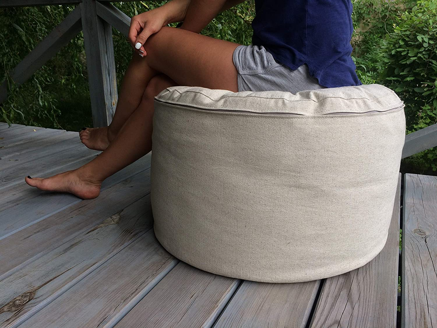 Pillowholic Linen round floor pouf ottoman removable cover Covers only !!! Eco furniture Rustic style 24x15 inches