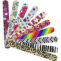 Hbsite Nagelfiler 10 stycken professionell manikyr dubbelsidig nagelfil tvättbar smaragdbräda färgglada pedikyrverktyg…