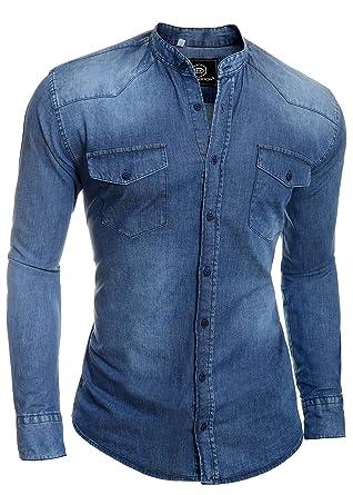 d9da9d5920 D R Fashion Men s Denim Blue Jean Shirt Grandad Band Collar UK Comfort Fit   Amazon.co.uk  Clothing