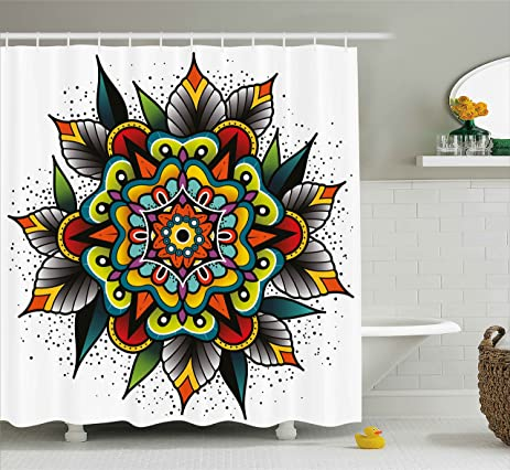 Tattoo Shower Curtain By Lunarable Old School Motif With Flowers Leaves And Internal Mandala Figure