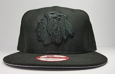 4f116709e72 New Era Chicago Blackhawks 9Fifty Black   Black Logo Adjustable Snapback  Hat NHL