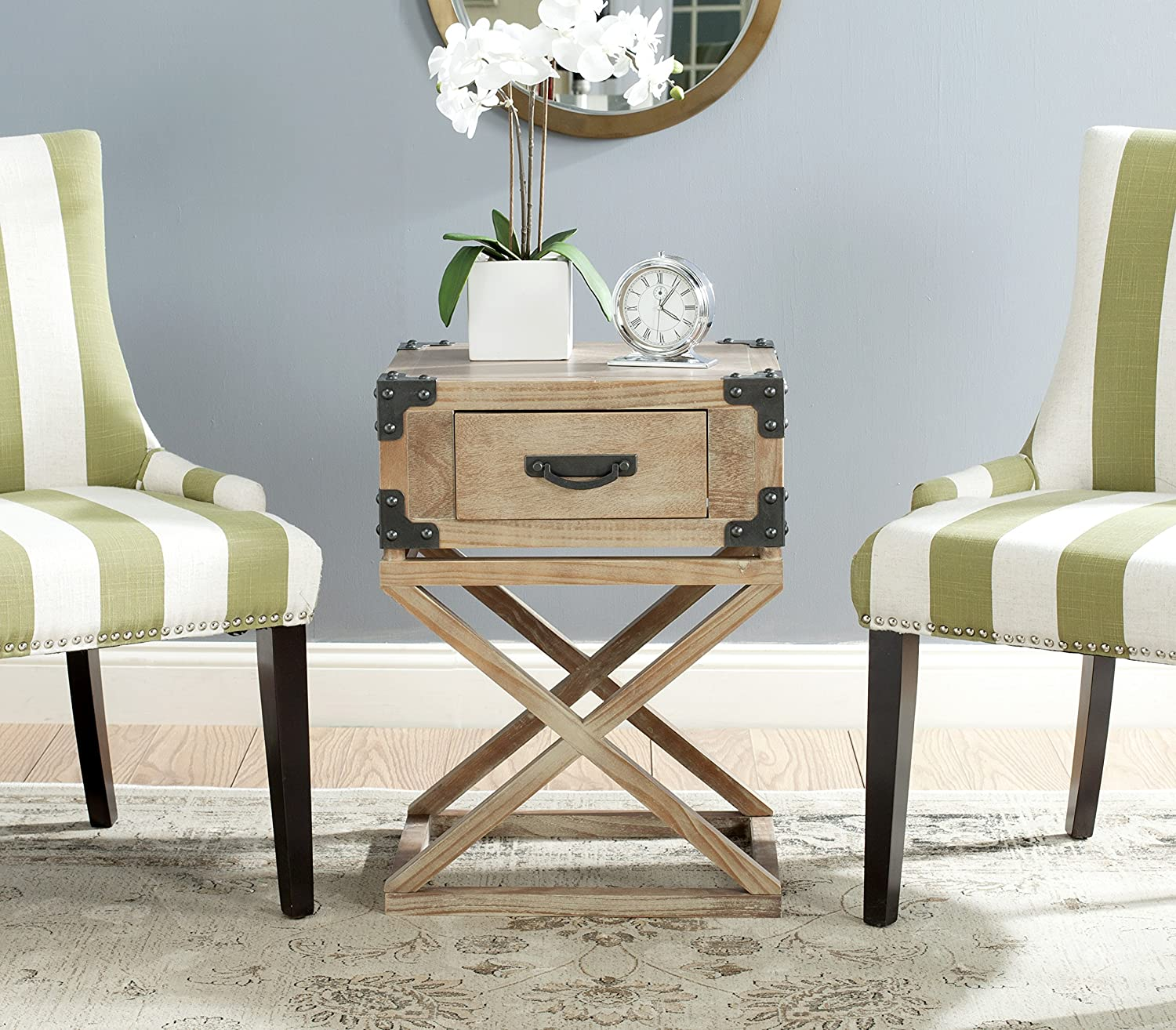Safavieh American Homes Collection Dunstan Washed Natural Pine Accent Table AMH5720B
