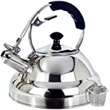 Tea Kettle - Surgical Whistling Stove Top Kettle Teapot with Layered Capsule Bottom, Silicone Handle, Mirror Finish, 2.75 Quart - Tea Maker Infuser Strainer Included