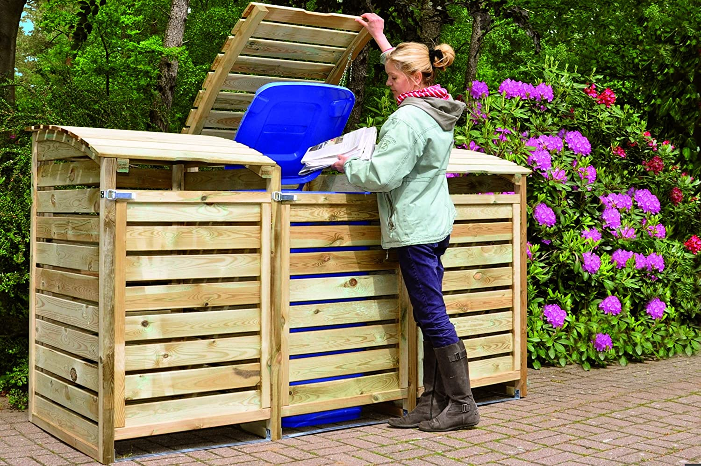 & triple wheelie bin store with back wall: Amazon.co.uk: Garden u0026 Outdoors
