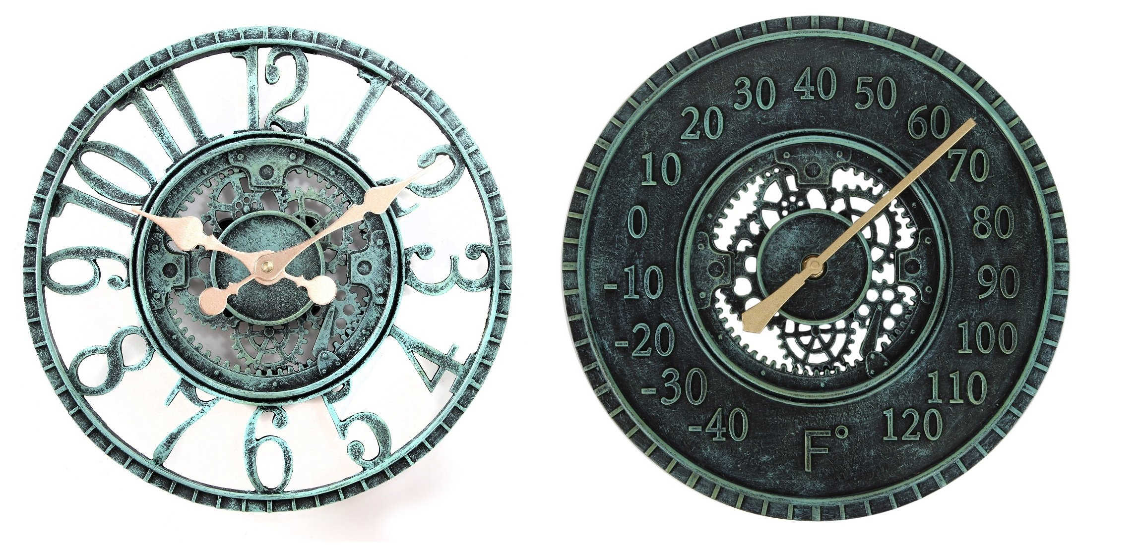 Lily's Home Hanging Wall Clock and Thermometer Set, Steampunk Gear and Cog Design with a Pewter Finish, Ideal for Indoor or Outdoor Use, Poly-Resin (12 Inches and 13 Inches Diameter)