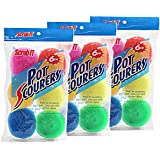 18 Round Nylon Dish Scrubber Scouring Pads By Scrub-It -3 Packs Of 6 Scour Pads - Assorted Colors - Tough and Durable - Non-Scratch for Non-Stick Cookware -