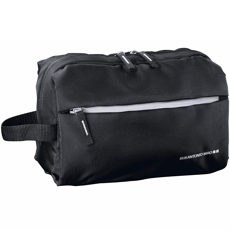 ANTONIO MIRO Neceser Impermeable Nylon Negro - Amplio con Bolsillos exterior e interior - Logo bordado - Ideal para viaje - Satisfacción garantizada!