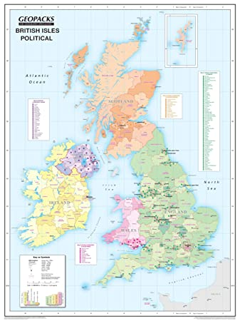 British Isles Wall Map For Children Reversible Political - Physical map for kids