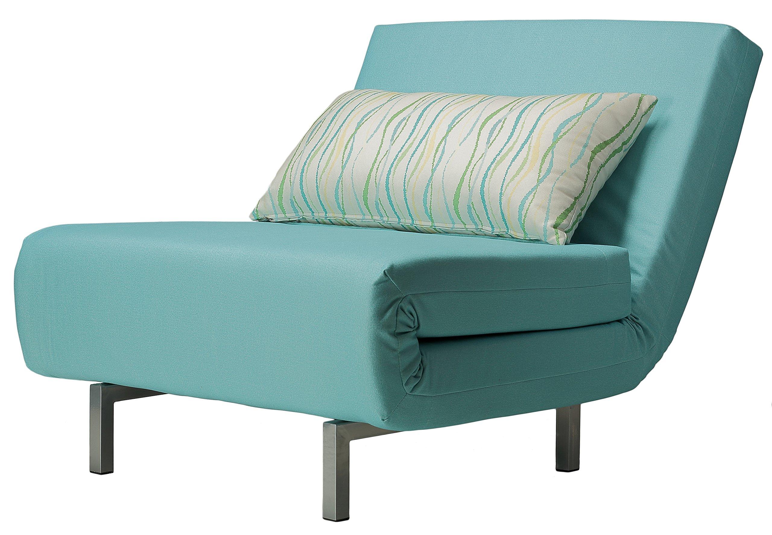 Cortesi Home Savion Convertible Accent Chair futon, Aqua Blue by Cortesi Home