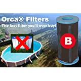 Orca Filters Reusable Pool Filter – Above Ground Pool Filter with Patented PureBlue Filtering – Type B Pool Filter – Durable,