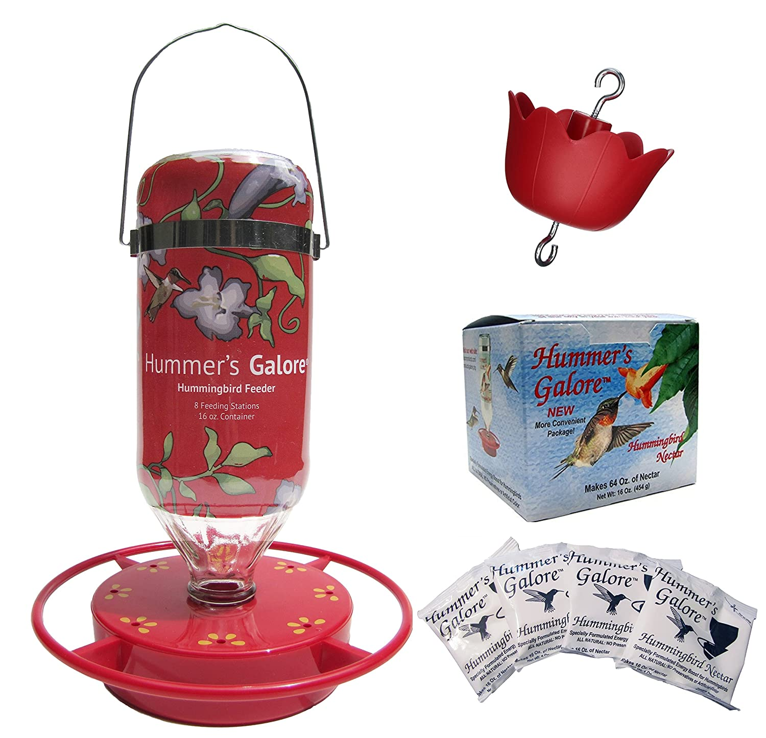 Amazon.com : Hummers Galore, Bonus: Hummingbird Feeder, 64 oz Nectar, Base and Ant Guard, 16 oz Hanging Glass Feeder - 4 Piece Gift Set : Patio, ...