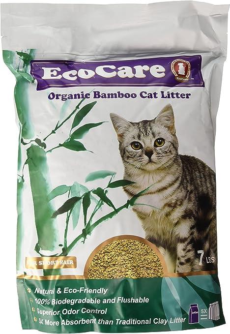 EcoCare - Arena para Gatos de bambú orgánico para Pelo Corto ...