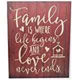Family Is Where Life Begins And Love Never Ends Rustic Wall Sign 12x15