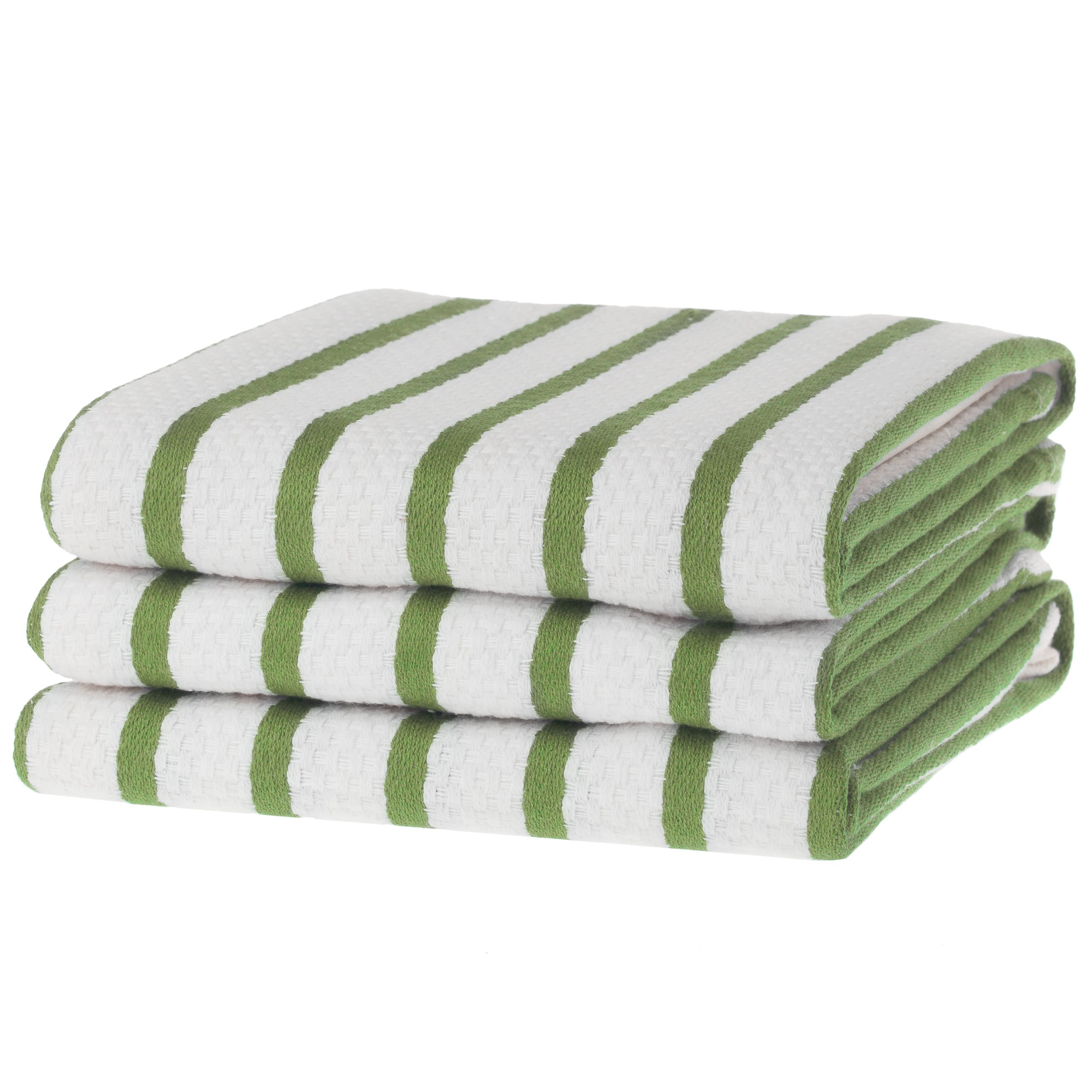 KAF Home Basket Weave Kitchen Towels, White with Green Stripes, Set of 3, 100% Cotton, Over-sized & Super Absorbent