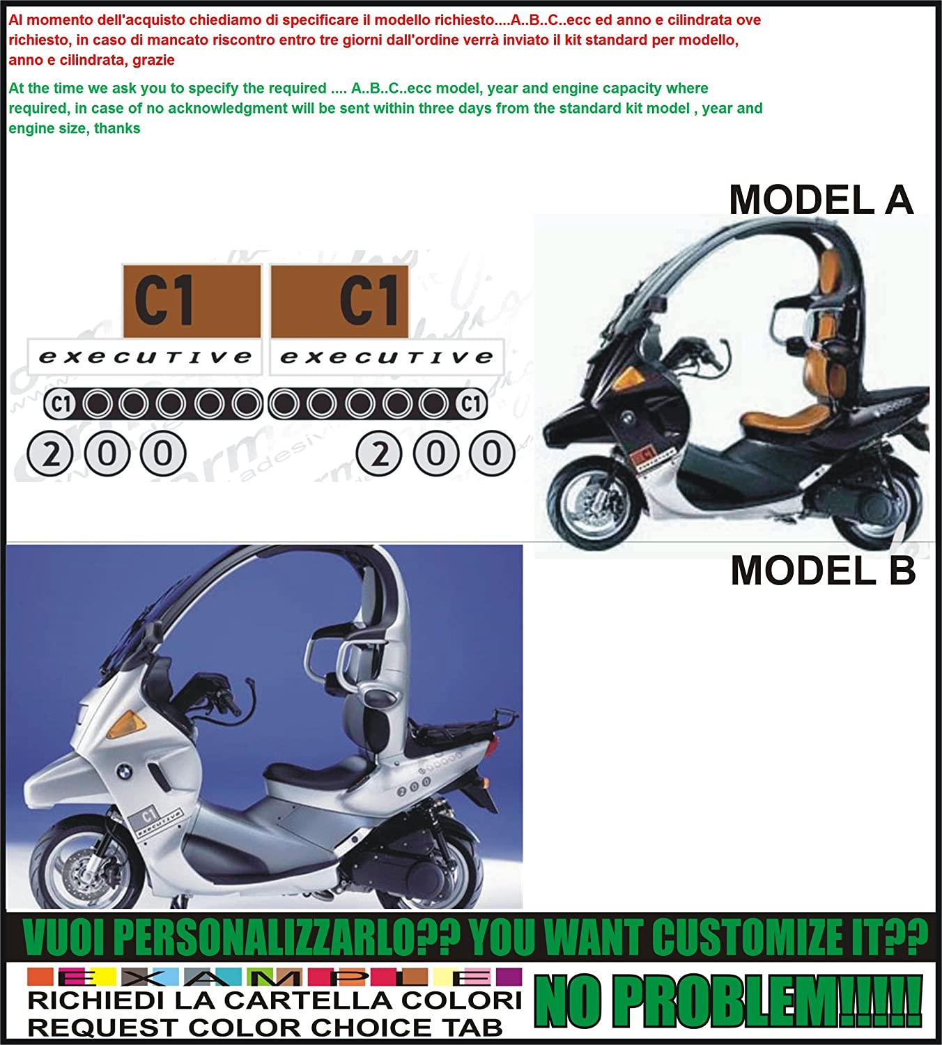 Kit Adesivi Decal Stickers Bmw C1 200 Executive Ability To