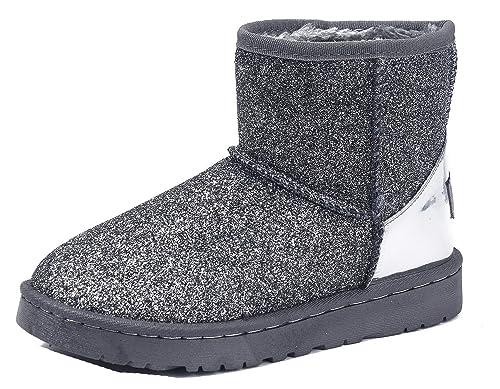 AgeeMi Shoes Mujeres Nieve Invierno Lentejuelas Bota Zapatos Clásicas Botines,EuX11 Gris 35