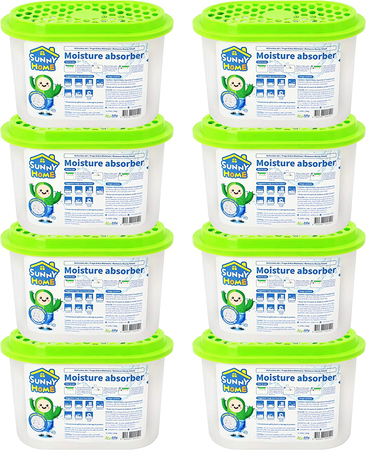 SUNNY HOME Moisture Absorber for Home. Odor Eliminator, Dehumidifier, and Deodorizer for Closet, Bathroom, Kitchen (8)