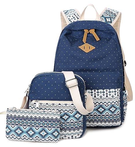 5c9fa9141e DCCN Tela Zaino Casual Scuola Zaini Donna Ragazza Canvas Backpack Zainetto  3 in 1