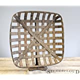 "Tobacco Basket, Farmhouse Decor, Med 21"" Square"