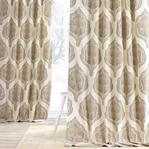 HPD Half Price Drapes PRTW-D37B-120 Printed Cotton Twill Curtain 1 Panel