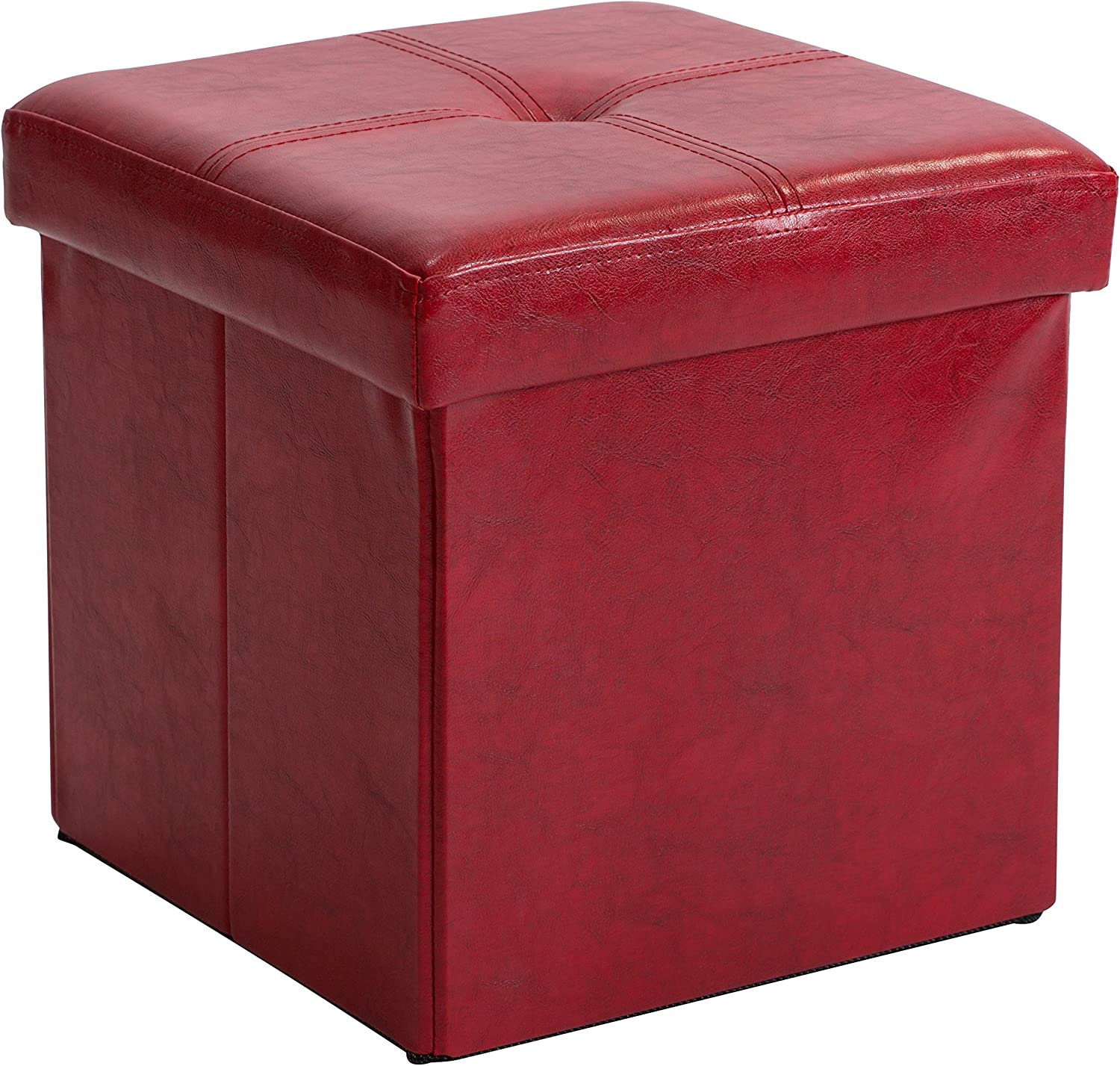 Simplify Kennedy Home Collection 30-Inch Faux Leather Folding Storage Ottoman, RED