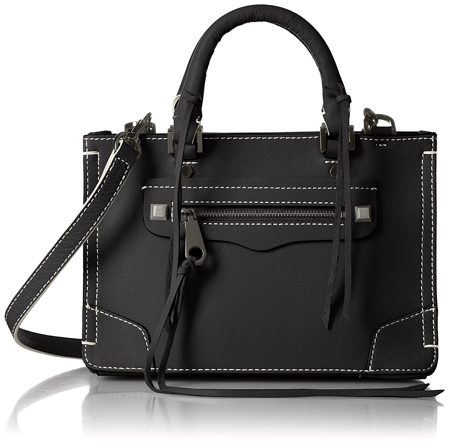[レベッカミンコフ] 正規品 MICRO REGAN SATCHEL427-7280726-017 B06XX9817GBLACK W/ WHITE STITCH