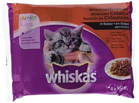 Multipack de 4 bolsitas de 100g de selección de carnes para gatos junior | [Pack