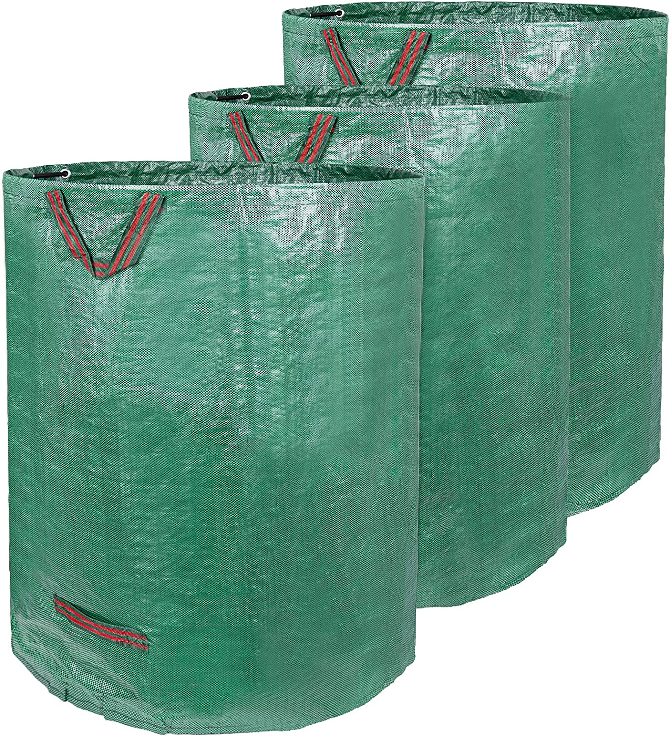 Future Way 132 Gal Reusable Yard Waste Bag, Heavy Duty Collapsible Garden Bag with Double Bottom Layers and Carrying Handle, Extra Large Lawn Leaf Container