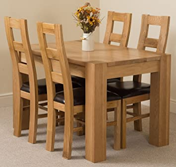 Kuba Chunky 125cm Kitchen Solid Oak Dining Table + 4 Solid Oak Leather  Chairs 100% Solid Oak | 125 X 80cm | Handcrafted | Fast U0026 Free:  Amazon.co.uk: Kitchen ...