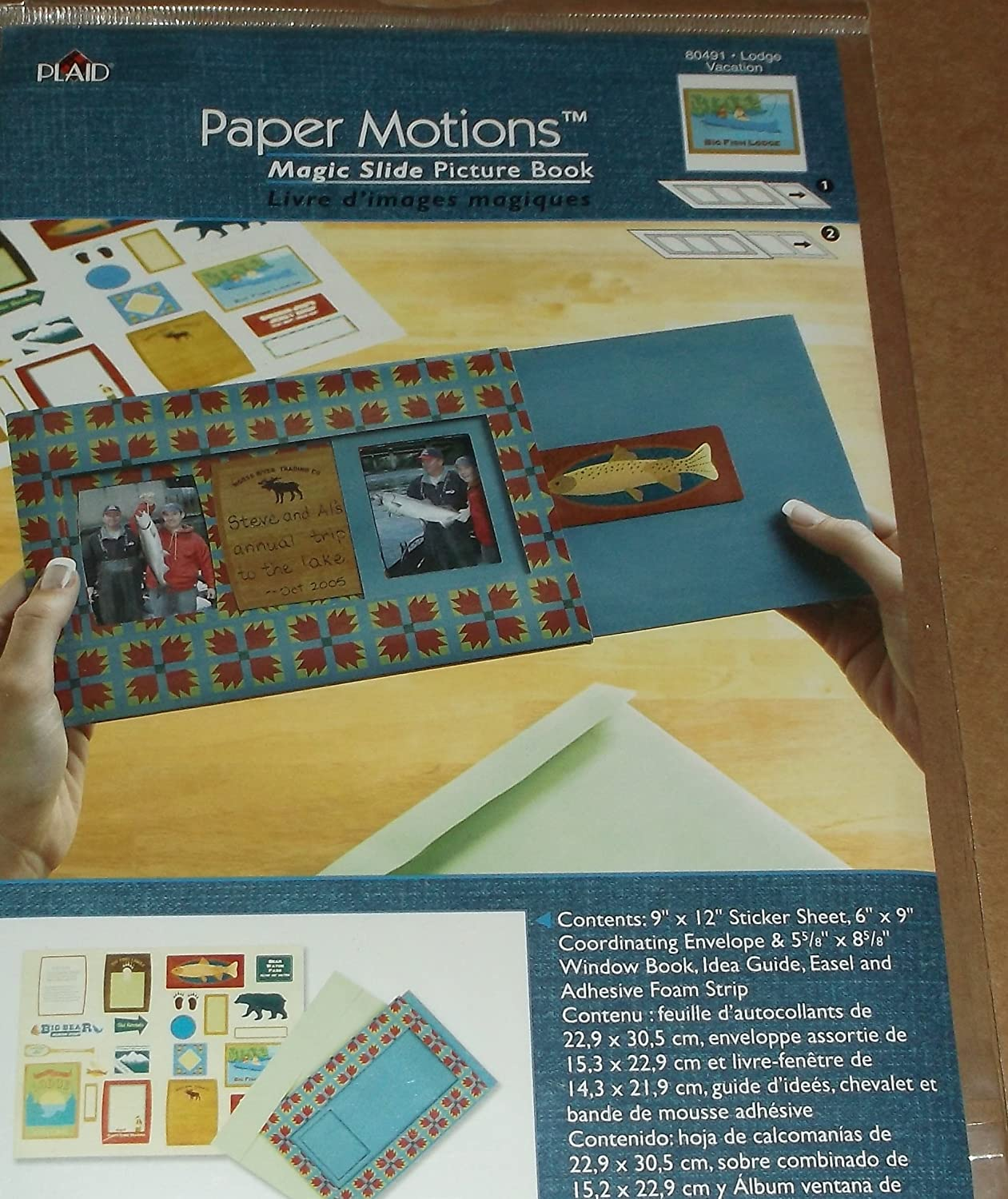 Plaid Paper Motions Magic Slide Book - Lodge, Fishing Vacation - 80491 Structural Graphics