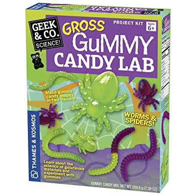 Thames & Kosmos Gross Gummy Candy Lab - Worms & Spiders! Sweet Science STEM Experiment Kit, Make Your Own Gummy Candies in Cool Shapes & Colors | Learn Chemistry | Looks Gross, Tastes Great: Toys & Games