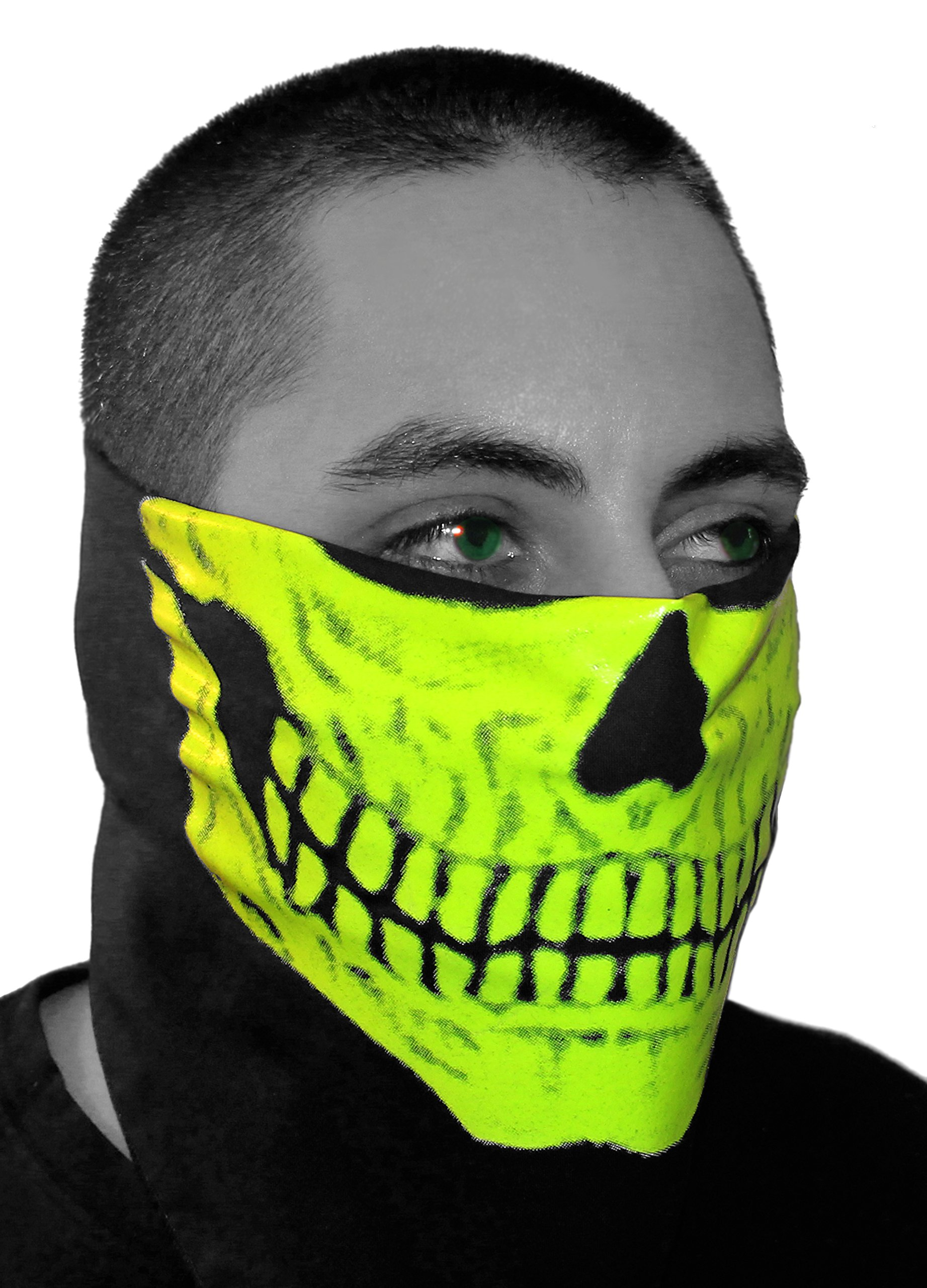 SFYNX Skull Face' EDM Face Mask - Glows in The Dark - Blacklight Reactive Rave Bandana - Yellow